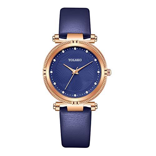 JZDH Relojes para Mujer Moda Simple Mujeres Relojes Mujer Señoras Casual Reloj de Cuarzo Cuarzo Reloj Mujer Relojes Decorativos Casuales para Niñas Damas (Color : Coffee)