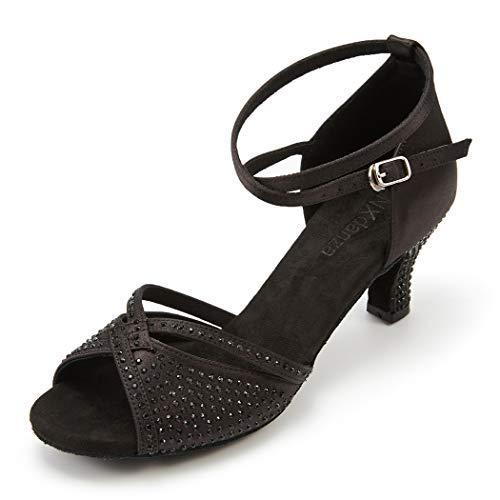 "JZNXdanza Women's Professional Rhinestone Ballroom Dance Shoes Latin Salsa Performance Dance Shoes Wedding Dancing Shoes Z01(Black-2.4"" Heel,7.5)"