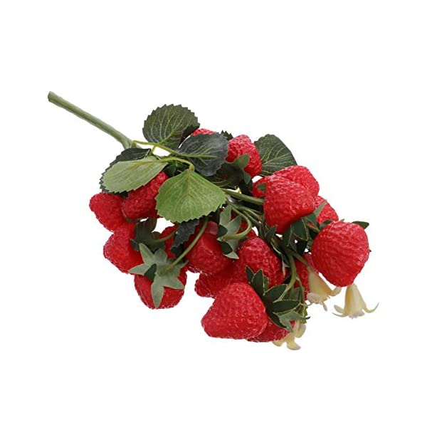 YARDWE Artificial Strawberries Red Fake Strawberry Raspberry Stems Fruit Faux Holly Berries for Garden Yard Fence Festival Autumn Fall Harvest Thanksgiving Christmas Decorations