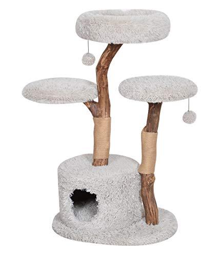 Dehner 4160479 Premium Lovely Katzen-Kratzbaum Aufsteigen & Abschalten, ca. 110 x 60 x 45 cm, Holz/Plüsch/Sisal, hellgrau