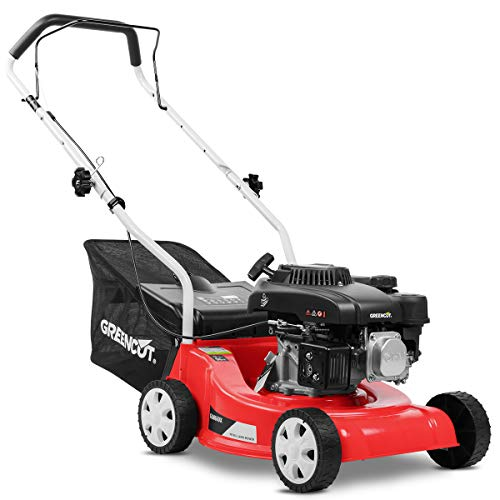 Greencut GLM660SX Cortacésped Tracción Manual, Motor Gasolina, 3600 W, 220 V, Rojo, 390 mm