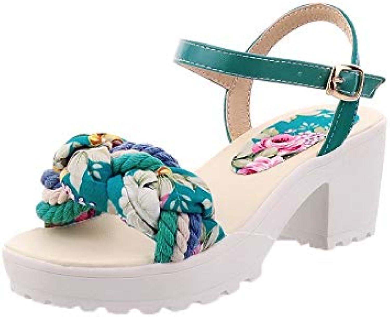 WeiPoot Women's Kitten-Heels Assorted color Buckle Blend Materials Sandals, EGHLG005273
