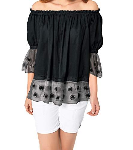 Heine Shirt Carmen-Bluse Oversized Damen 3/4-Arm Bluse mit Spitzeneinsatz Freizeit-Bluse Sommer-Shirt Schwarz, Größe:34