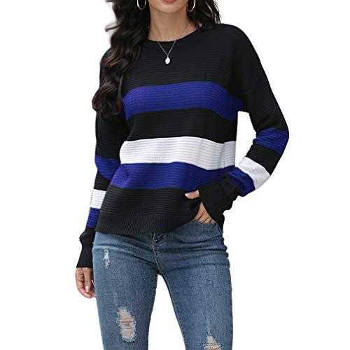 QIYUN.Z Womens Casual Langarm Chunky Knit Pullover Pullover Stripe Print Pullover Tops Königsblau M.