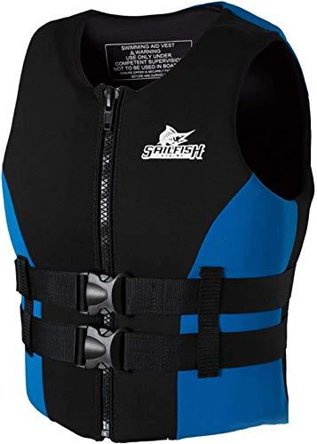 Chaleco Salvavidas, Chaleco Flotante, Ayuda de flotabilidad para Snorkel, Kayak, navegación, Pesca, Bote motora para Mujeres Adultas, Hombres, 48-110kg,Azul,XL