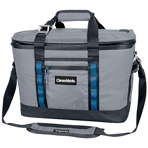 CleverMade Maverick Collapsible Cooler Bag - 50 Can Insulated Leakproof Soft Sided Beverage Tote with Shoulder Strap, Bottle Opener and Storage Pockets, Grey, Large, One Size