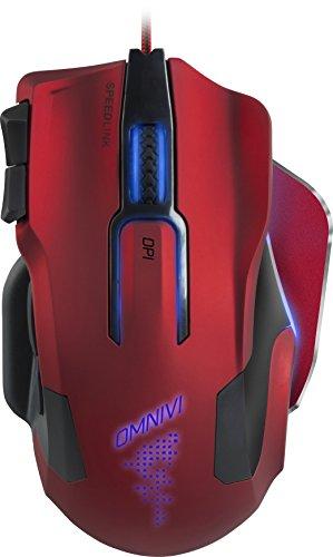 Speedlink Omnivi Core Gaming Mouse USB - Programmierbare Gamer Maus für PC / Computer (Laser-Sensor, bis zu 12000 DPI - 10 frei belegbare Tasten) rot/schwarz