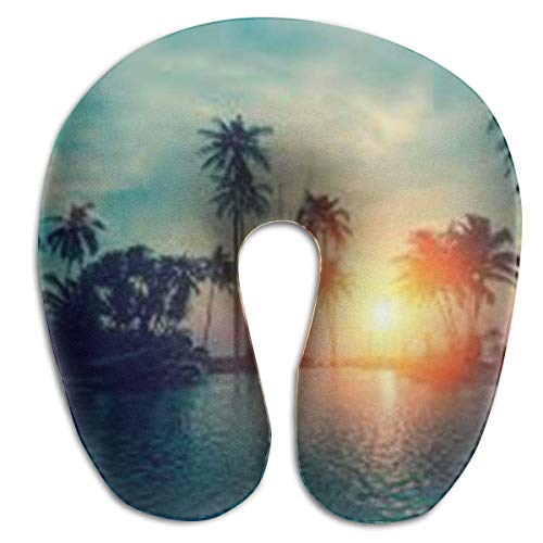 U Shaped Pillow Neck Sunset Palm Trees Travel Multifunctional Pillow Car Airplane