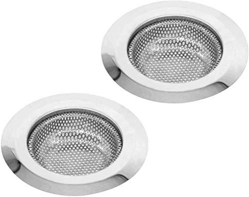 FMU Abflusssieb Edelstahl, 2 Stück Küchen Abflusssieb Dusche, Abflusssieb Waschbecken, ideal als Spülbecken Sieb und Haarsieb Dusche aus hochwertigsten Edelstahl