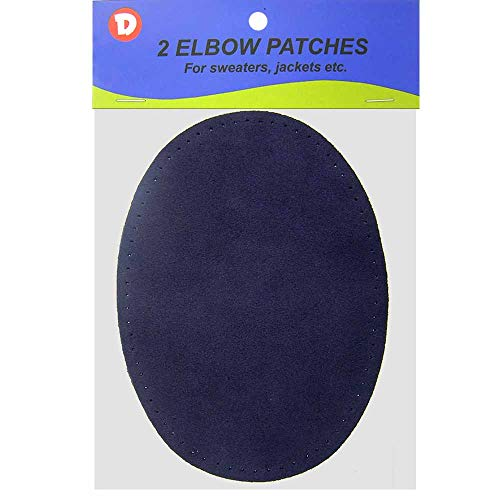 2/pkg Sew-on 4 3/4'x6 1/2' Navy Blue Suede Cowhide Elbow Patches