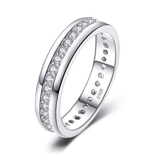 JewelryPalace Anillos Mujer Plata Diamante Simulado, Anillos de Compromiso Plata de ley 925 Mujer Chapado en Oro, Promiso Anillo Mujer Alianzas Banda Boda Eternidad, Joyería de Aniversario