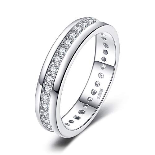 JewelryPalace Cubic Zirconia Anniversario Matrimonio Band Eternità Anello Canale Set 925 Sterling Argento