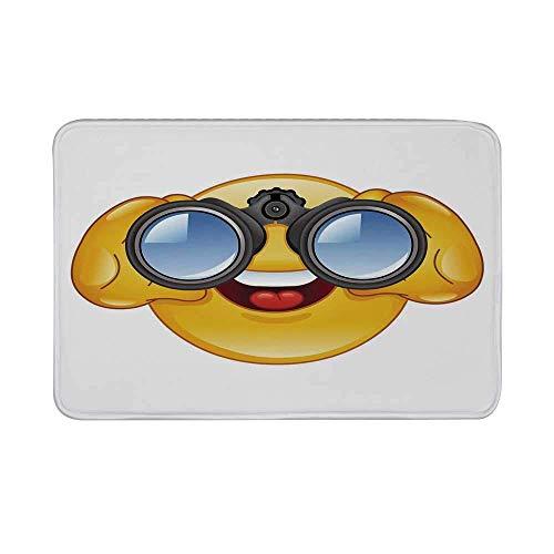 LiminiAOS Emoji rutschfeste Türmatte, Smiley-Gesicht mit einem Teleskop-Fernglas Brille beobachten außerhalb Cartoon Print Bodenmatte für Badezimmer Wohnzimmer