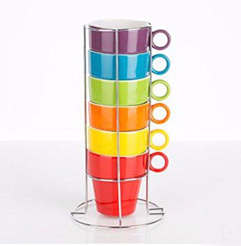 QPSSP 6 Tasses De Café Ceramic Mug Créatives Simples Coupes Tasses Mis 6 Tasses De Café De Ménage Blanc Porte - Gobelet