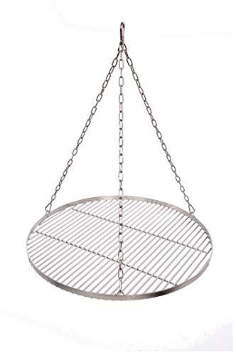 Massives Grillrost Ø 60 cm mit Kette Edelstahl 6 mm Grillstabdicke Stababstand 14 mm für Schwenkgrill BBQ Dreibein
