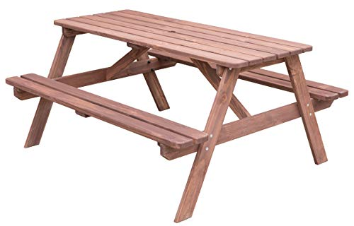 Gardenised QI003469L.ST A-Frame Outdoor Wooden Patio Deck Garden Picnic Table (Stained)