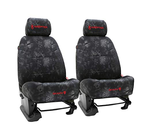 Front Seats: ShearComfort Custom Kryptek Neo-Supreme Seat Covers for Toyota Tacoma (2016-2021) in Kryptek Neo-Supreme Typhon for Buckets w/Adjustable Headrests