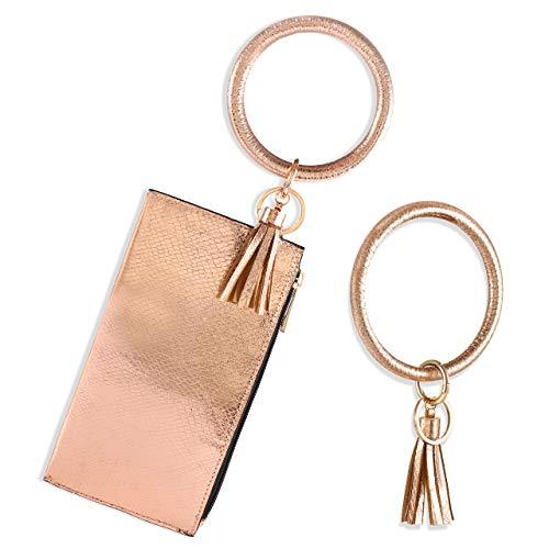Keyring Bracelets Wristlet Keychain Holder Leather Tassel Wallet Purse Circle Key Ring Bangle For Woman Girls Gold Size: Medium