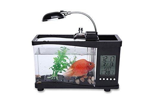 Zero Desktop Aquarium USB Mini Fish Tank Water Pump Light Calendar Alarm Clock FA-94087,Black