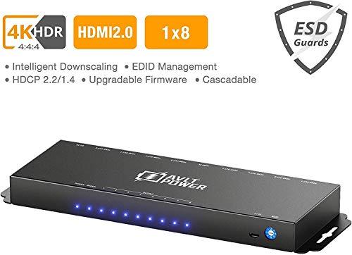 New AVLT-Power 4K HDR HDMI Splitter 1 in 8 Out - Cascadable 4K 60Hz 4:4:4 HDCP 2.2 HDMI 2.0 18Gbps 1...