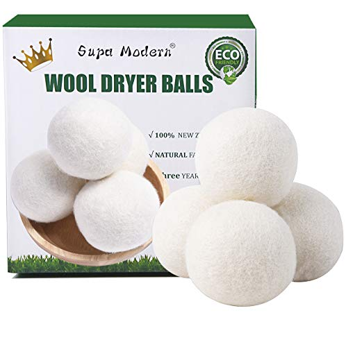 Wool Dryer Balls Organic XL, Natural Fabric Softener 100% New Zealand Wool, Chemical Free Eco Wool Dryer Balls Laundry, Handmade Reusable Balls Reduce Wrinkles & Shorten Drying Time