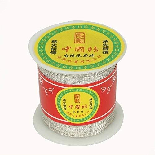 NDBBWG Hilo de Coser 60-130 Yardas de Color Plateado/Dorado, cordón de Nudo Chino, cordón de 0,5-1 mm de diámetro, para Herramienta de Manualidades, Hilo de Coser a Mano, Plateado
