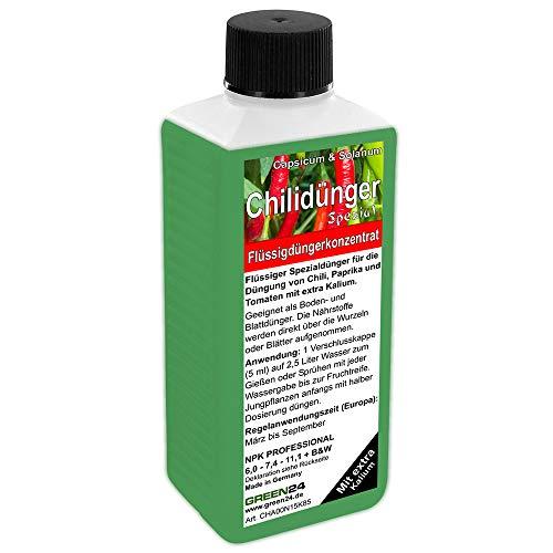 GREEN24 Chilidünger Paprikadünger Spezial Capsicum, zum düngen von Chili (Chilli) Peperoni Paprika und auch Tomaten, Flüssig - Dünger der Profi Linie