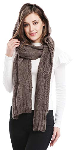 Bellady Winter Knit Hooded Scarf Pullover Headscarf Hoodie Hat,Gray
