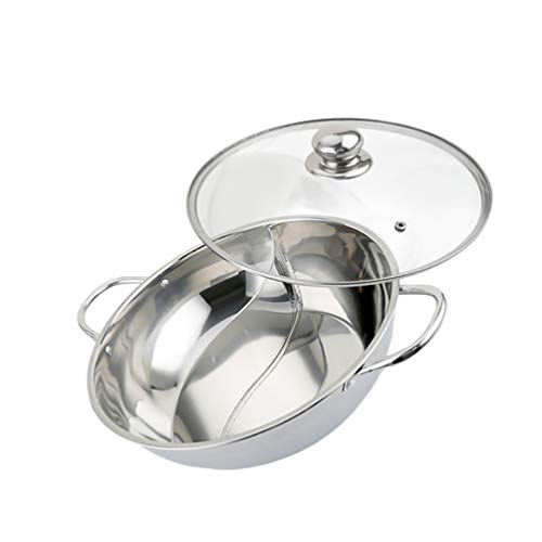 Yardwe Stainless Steel Shabu Hot Pot with Divider Yin Yang Hot Pot with Cover for Induction Cooktop Gas Stove 30cm