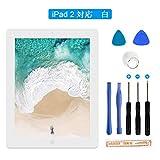 Flylinktech iPad 2 タッチパネル 品番A1397 A1395 A1396に適用 液晶パネル フロントパネル iPadガラス割れ修理交換用 修理ツールつき (iPad 2, ホワイト)