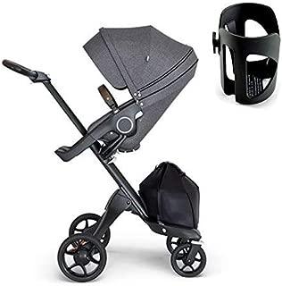 Stokke Xplory Black Chassis, Seat - Black Melange/Brown Leatherette Handle & Cup Holder - Black