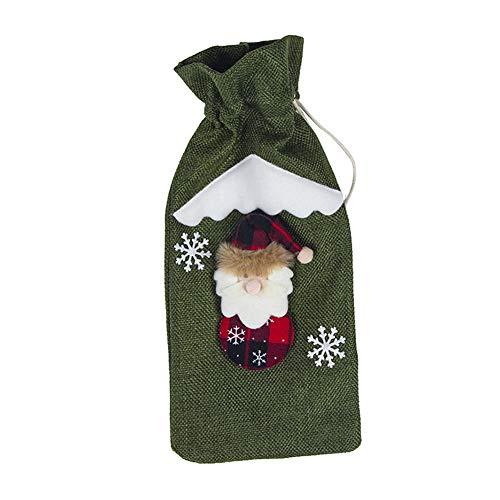 mnoMINI Kerstmis Wijnfles Cover Tassen, Santa Snowman Elk Patroon Wijn Gift Tassen, Wijnglas Doek Cover voor Feesttafel Kerstdecoratie, Thanksgiving