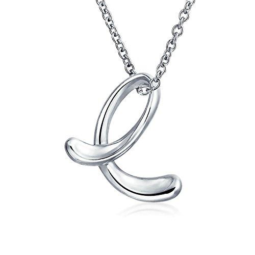 Letter J Pendant Cursive Alphabet Charm Script Initial Sterling Silver