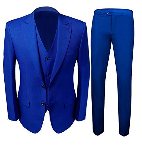 Men's Royal Blue Groom Tuxedos 3 PC Men Suits 2 Buttons Wedding Suits for Men Royal Blue 40 Chest / 34 Waist