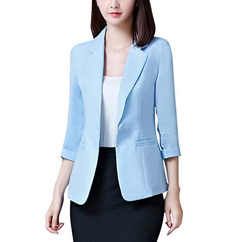 Mujer Blazer Slim Fit 3/4 Mangas Elegante Superior Oficina Traje de Chaqueta Outwear Casual Azul XXL