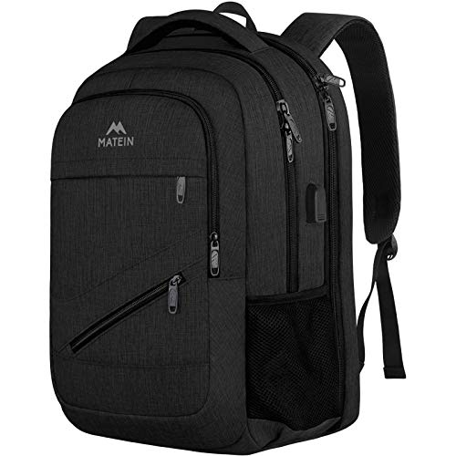 MATEIN Laptop Backpack for Business Travel, 17 Inch High School Student Backpack, Water Resistant College Computer Bookbag for Boy Girl, Large TSA Friendly Backpack for Men Women with USB Port,Black