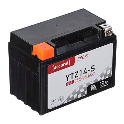 Accurat Motorradbatterie YTZ14-S 12Ah 150A 12V Gel Technologie Starterbatterie in Erstausrüsterqualität zyklenfest sicher lagerfähig wartungsfrei