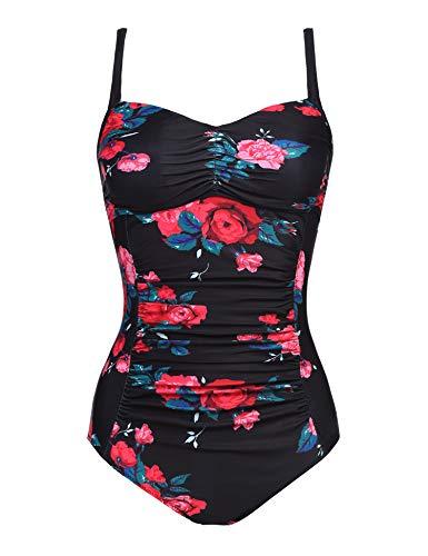 Ekouaer Women's Swimwear Classic Center Front-Twist One Piece Swimsuit(PAT 2,XX-Large)