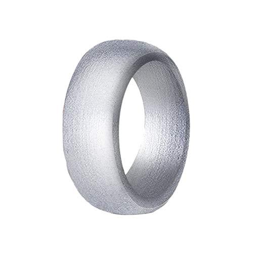 YiyiLai® Damen Verlobungsring Stackable Rings Hochzeit Band Sport Ringe Hochzeit Band Gummi Ehering Fingerringe US 8,Silber