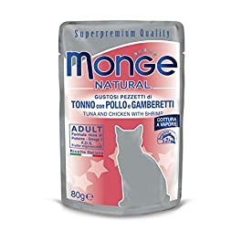 Monge – Food For Cats, Tuna with Chicken and Shrimps, 80 Grams, 1 sachet