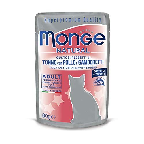 Monge - Cibo Per Gatti, Tonno con Pollo e Gamberetti, 80 grammi, 1 Bustina