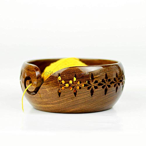 Nagina International Rosewood Crafted Wooden Yarn Storage Bowl with Carved Holes & Drills | Knitting Crochet Accessories (Medium)
