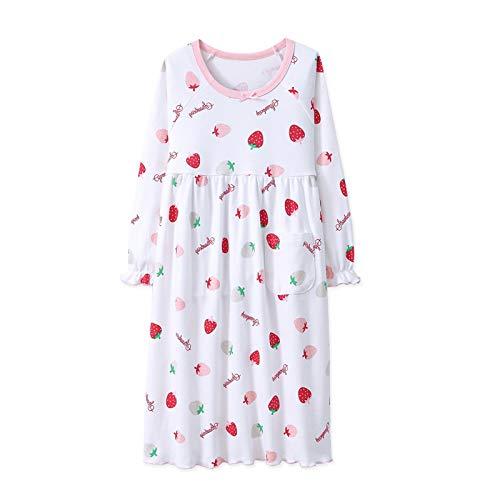 AOSKERA Pyjama Chemise de Nuit pour Fille 6-7ans à Manches Longues Couleur Fraise Blanc