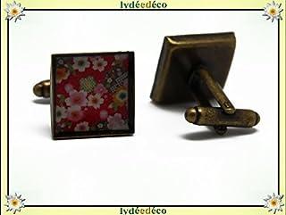 2 gemelli polsino bottoni resina fiore sakura ciliegia rosso ottone regali personalizzati natale papà compleanno matrimoni...