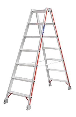 HYMER 402414 Stufenstehleiter beidseitig begehbar, 2x7 Stufen