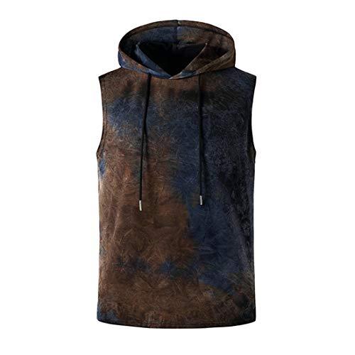 Men Hoodie Summer Hip Hop Style Men Tank Top Breathable Sport Tie Dye Lacing Men Tank Shirt Slim Fit Personality Trend Cool Men Streetwear D-Blue XL