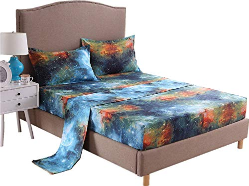LELVA Luxury Microfiber Galaxy Sheet & Pillowcase Set 4 Piece Outer Space Bed Sheet Set with Deep Pocket Fade Resistant Hypoallergenic Queen Set