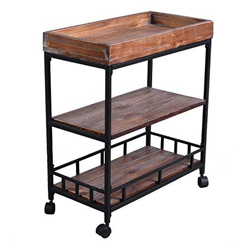 Diwhy Industrial Urban Wood Metal Wheels Storage Wine Beverage Rolling Wine Cart