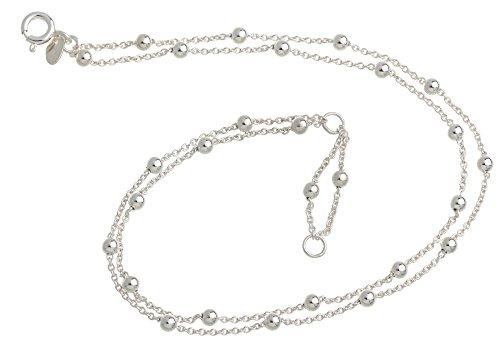 Cavigliera con sfere a 2 file – 1,3 mm di diametro – argento 925, lunghezza a scelta da 23 cm – 30 cm e Argento, cod. 1230