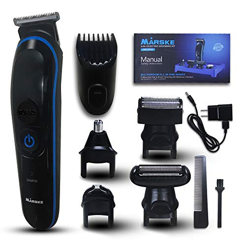 Hair Clippers for Men, 5 in 1 Multifunctional Suit, Men's Grooming Kit with Full Size Hair Trimmer, Design Trimmer, Micro Shaver, Nose Trimmer, Body Trimmer, Low Noise & Rechargeable (Black)